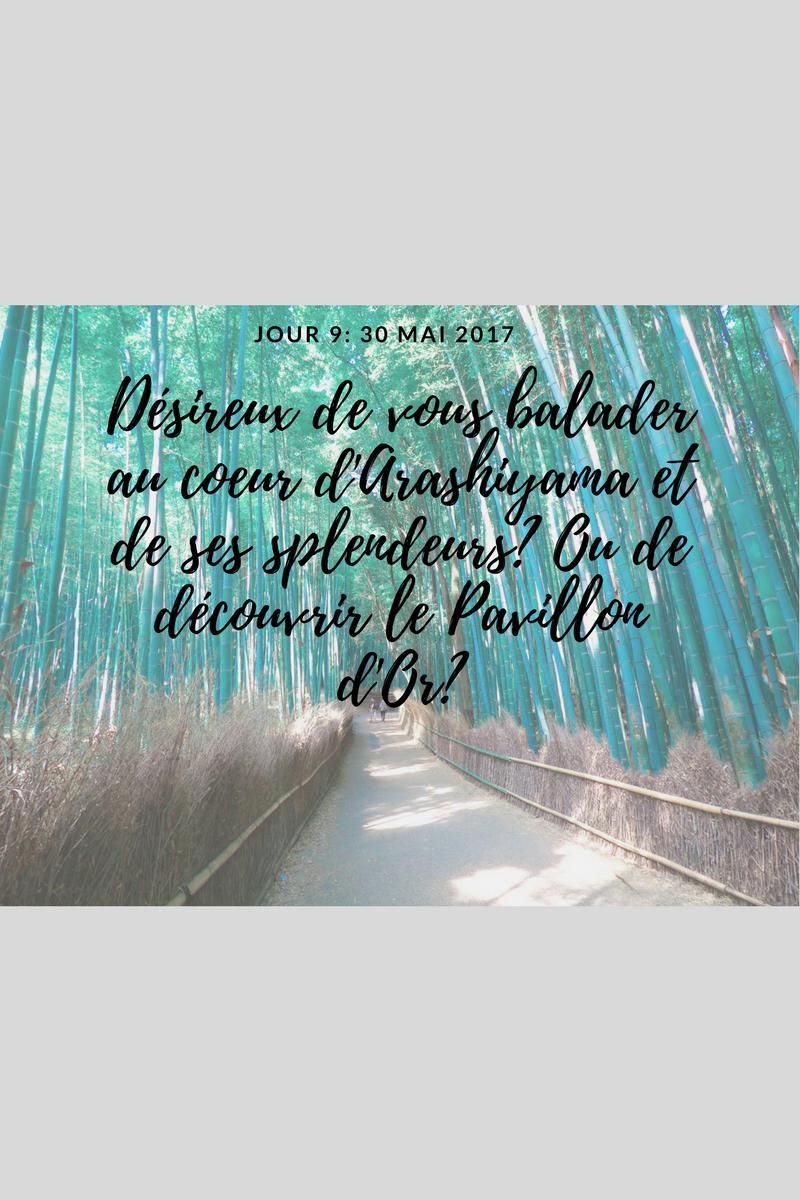 Jour 9 : Qui n'a jamais rêvé de plonger au cœur d'une bambouseraie verdoyante? ou bien de découvrir un pavillon recouvert de feuillesd'or?