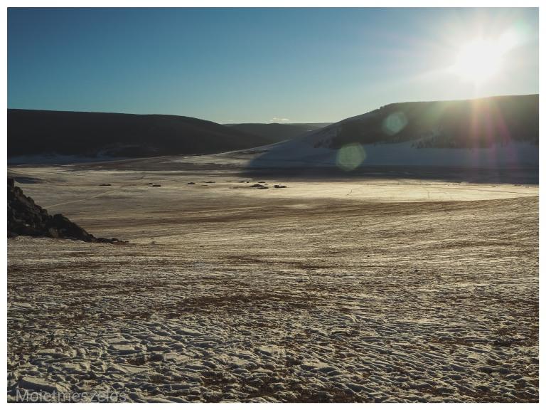 coucher de soleil mongolie hiver arkhangai