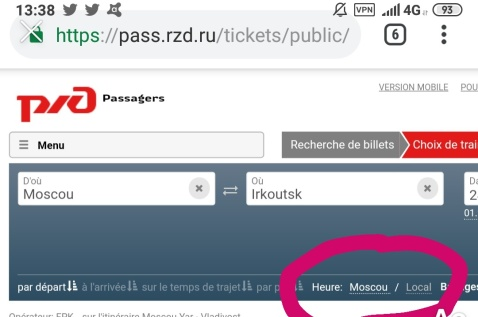horaires heure locale ou moscou rzd site